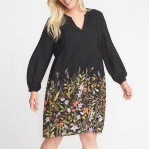 Old Navy Black Floral Swing Dress with Slip NWT